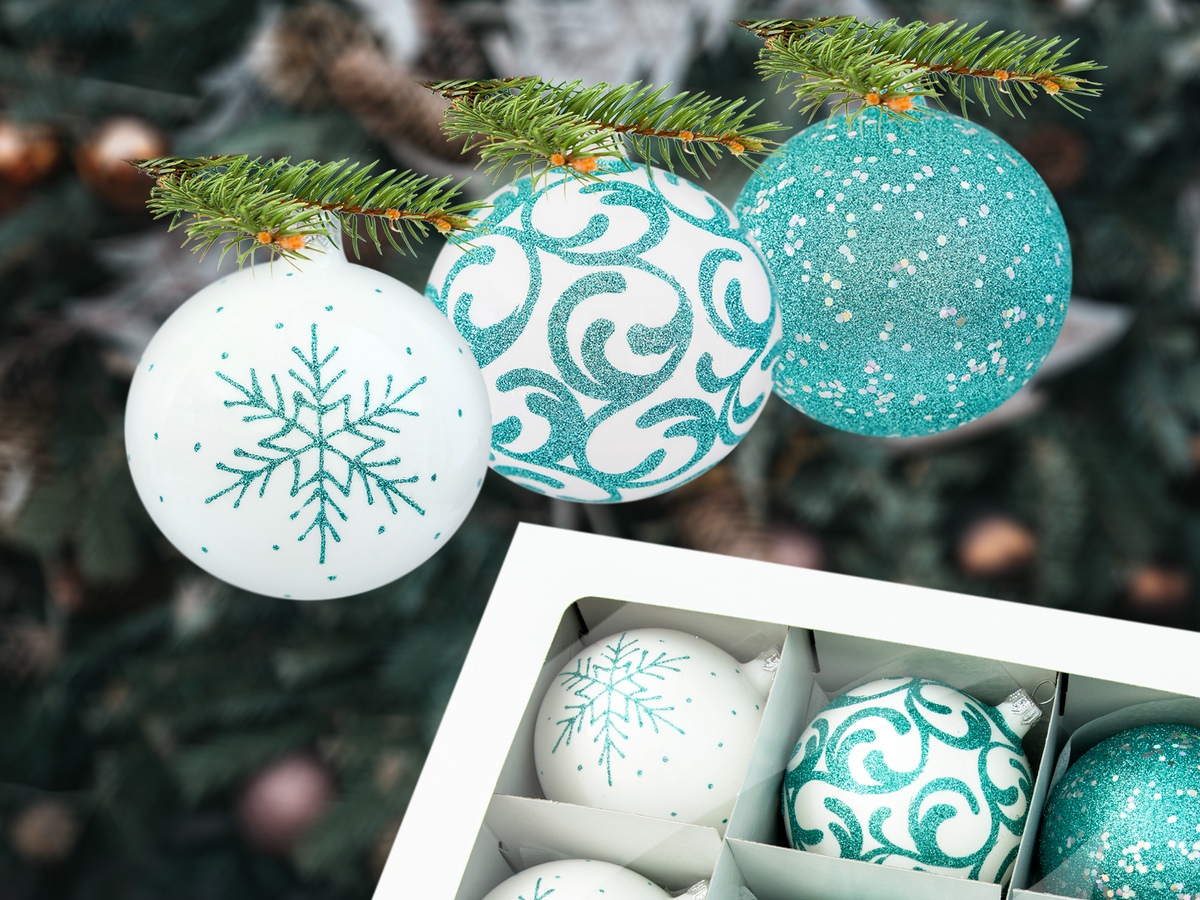 -  100 mm 6 pcs glass christmas balls