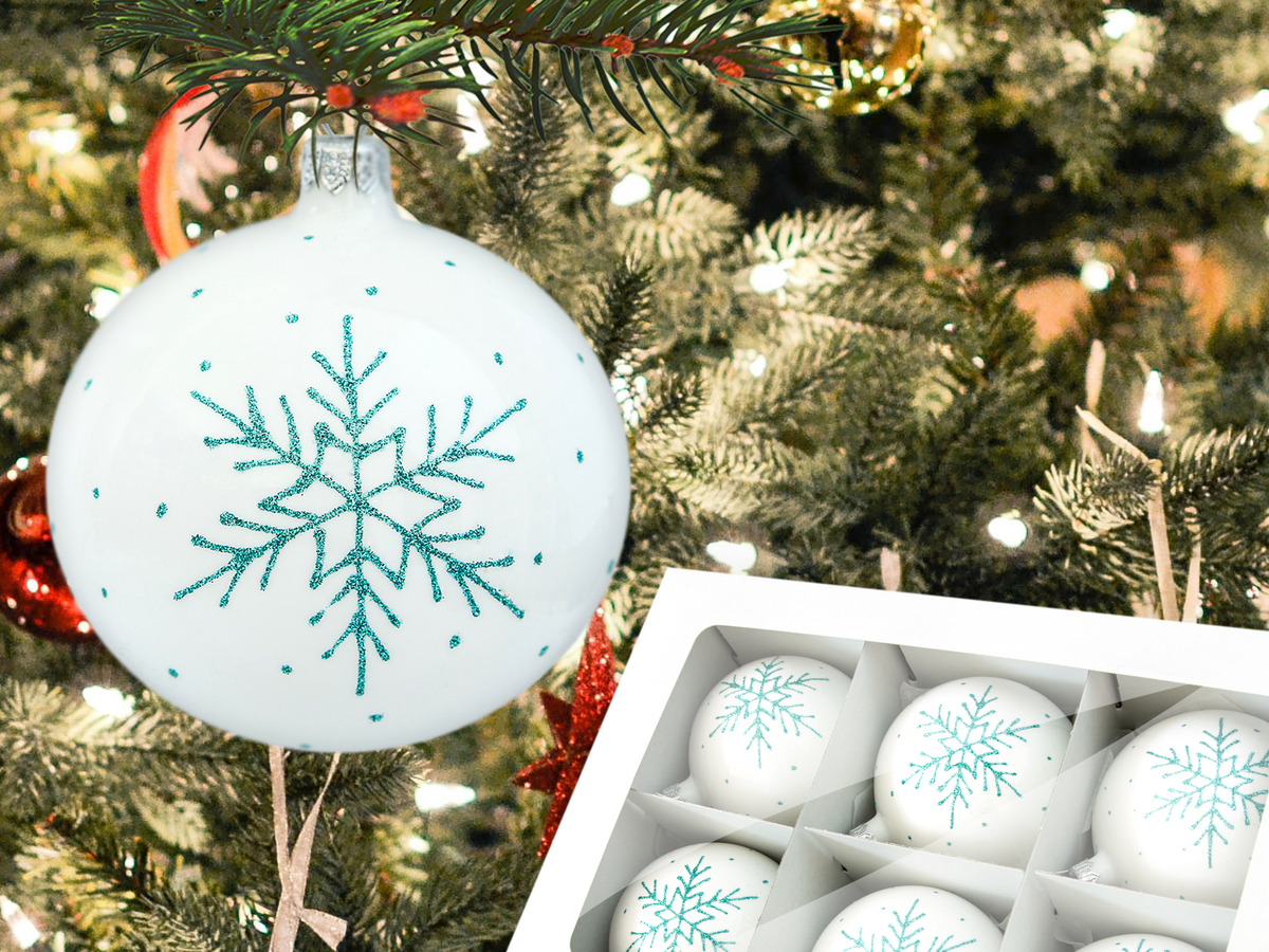 Set of mint snowflake on white -  100 mm 6 pcs glass christmas balls