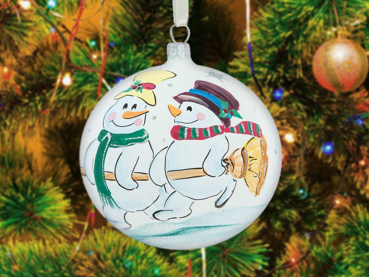 Snowmen with broom on white -  100 mm 1 pc glass christmas ball