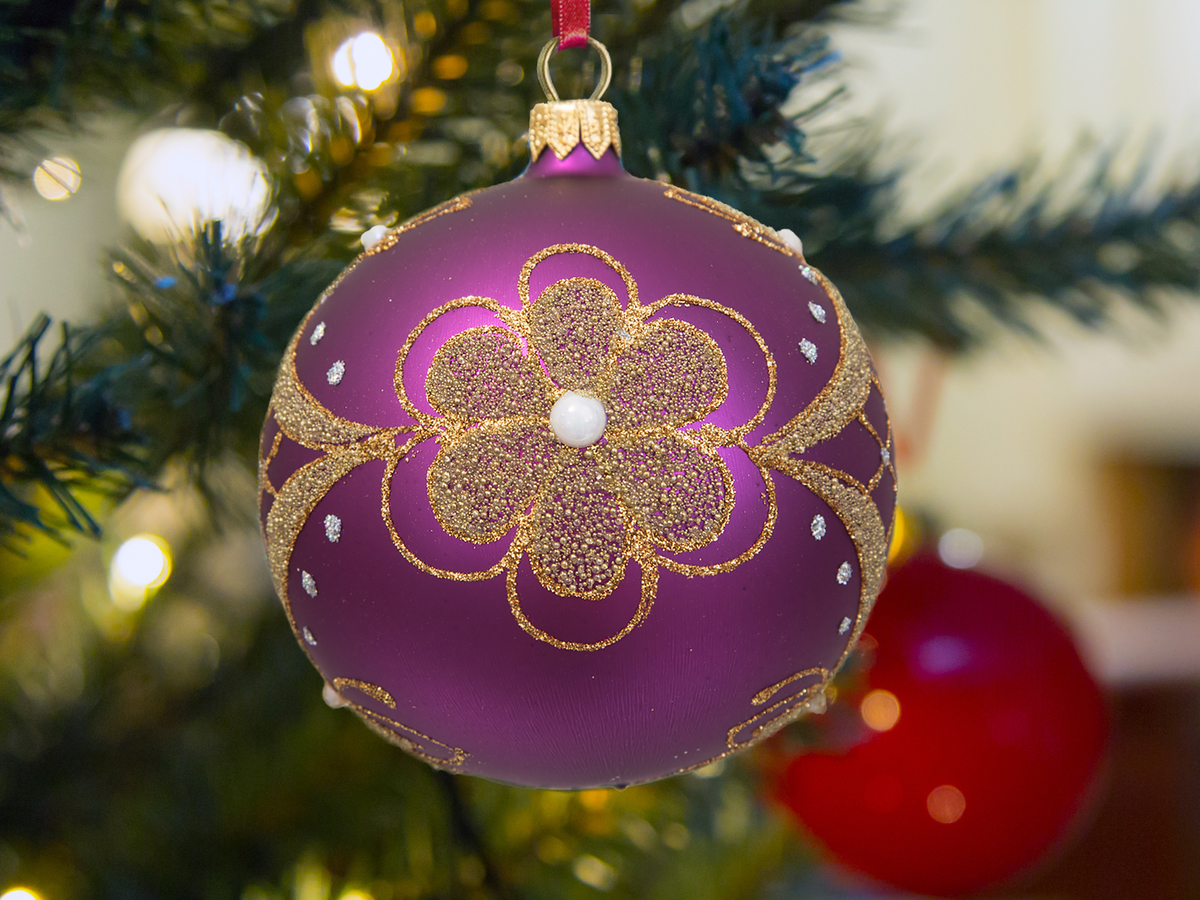Golden flower on violet -  100 mm 1 pc glass christmas ball