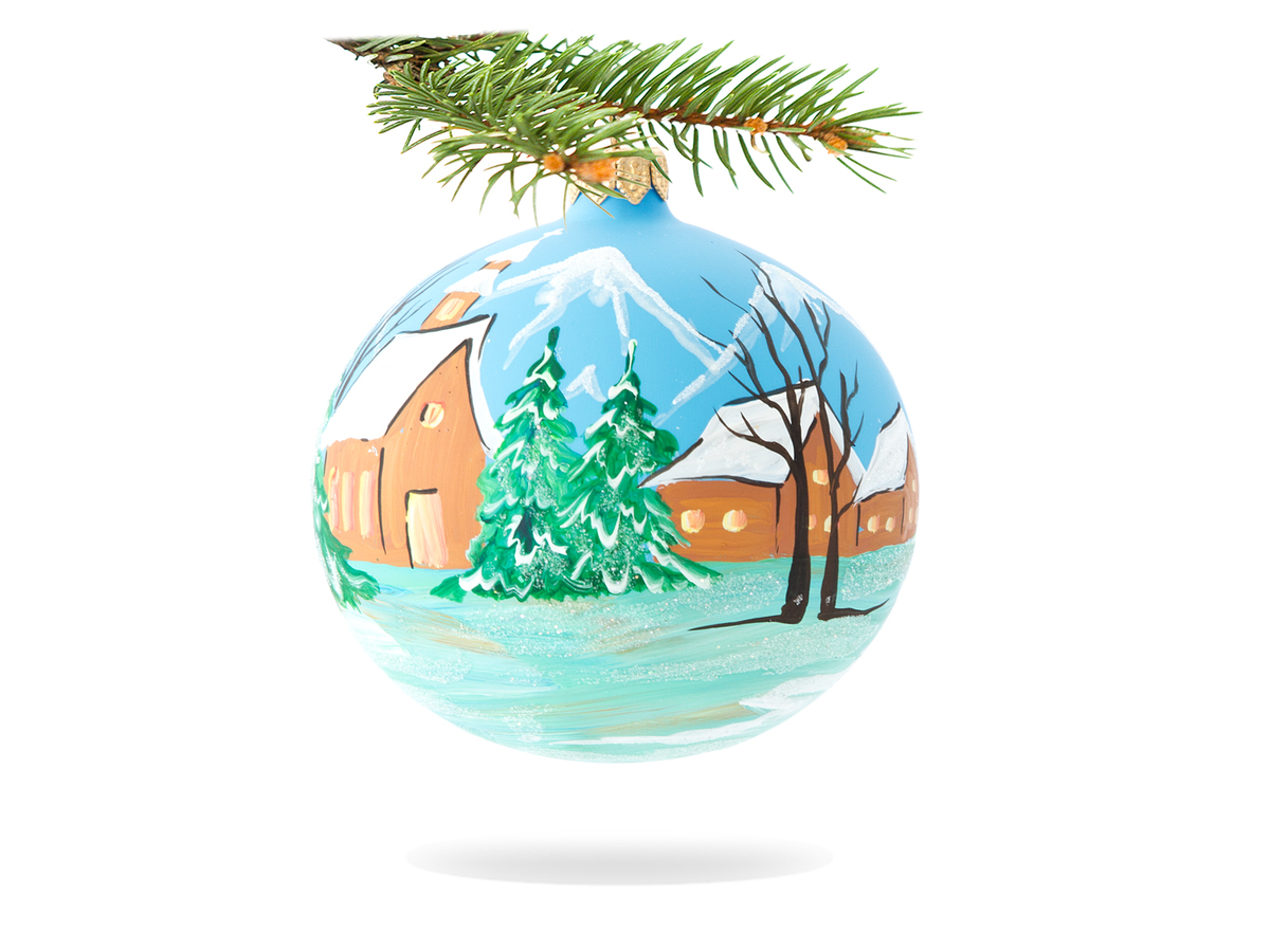 Church and huts -  100 mm 1 pc glass christmas ball