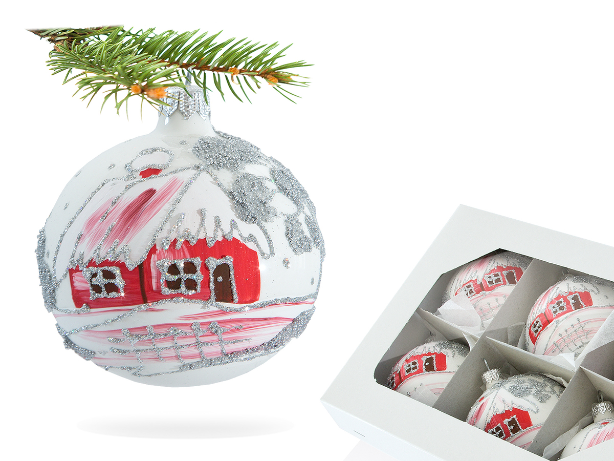 Set of red huts on white -  80 mm 6 pcs glass christmas balls