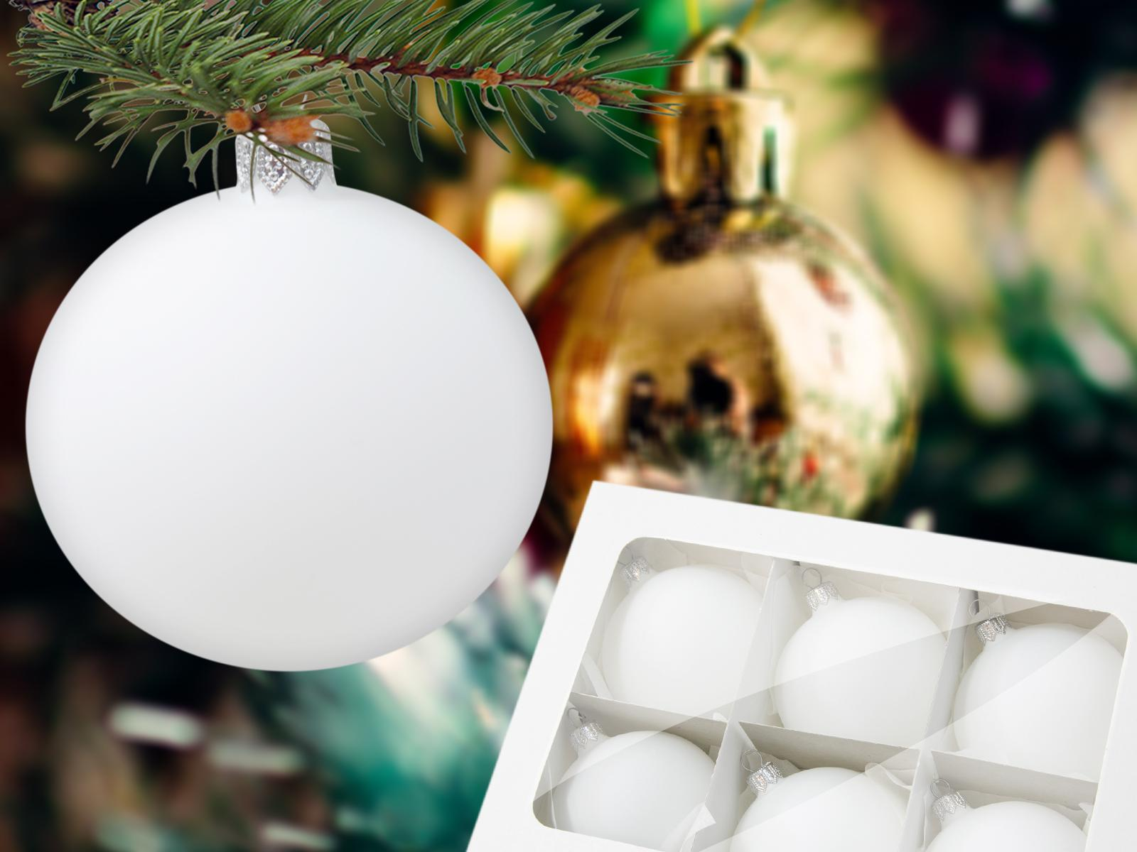 Set of white mat -  80 mm 6 pcs glass christmas balls