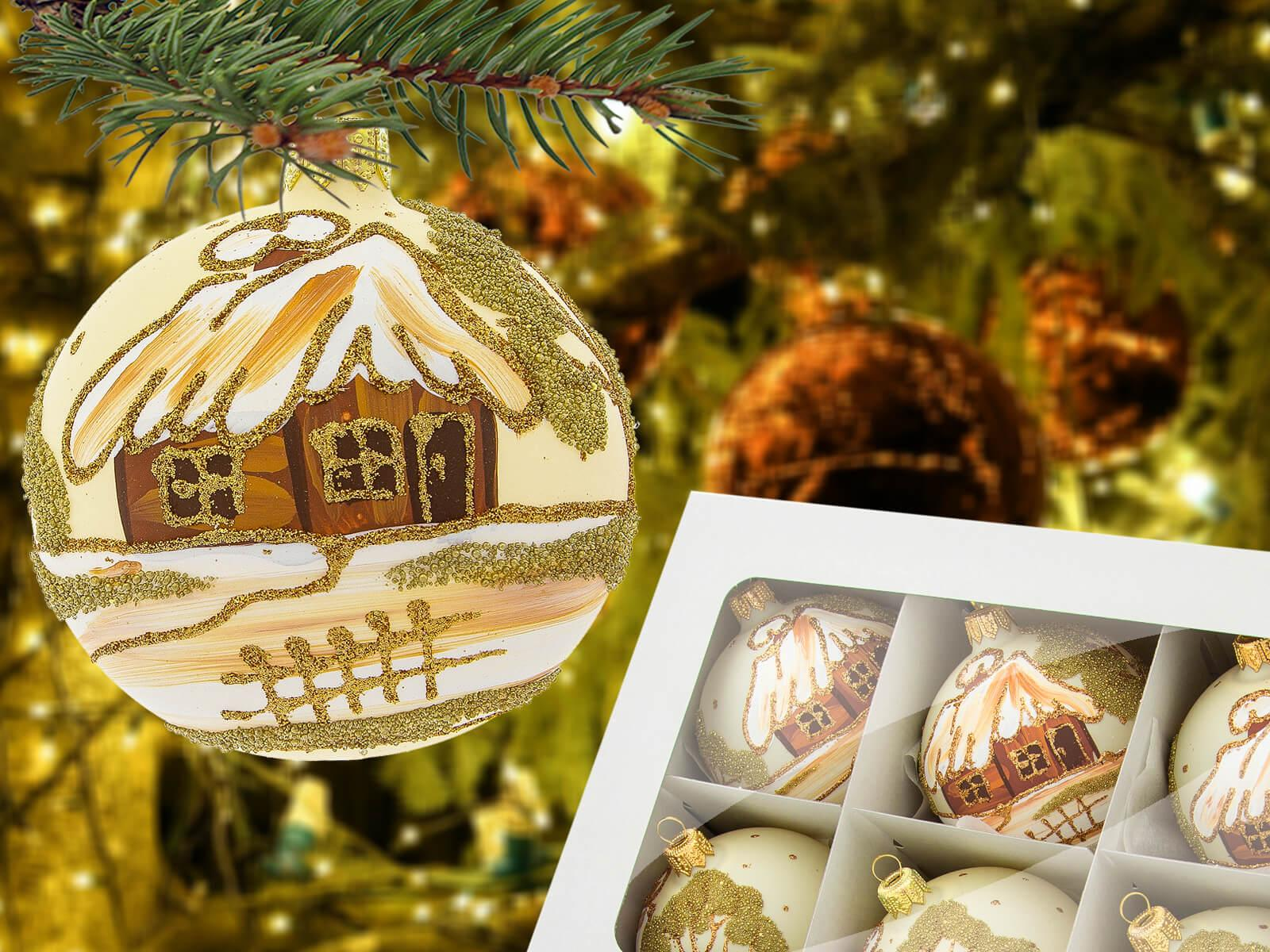 Set of golden huts on white -  80 mm 6 pcs glass christmas balls