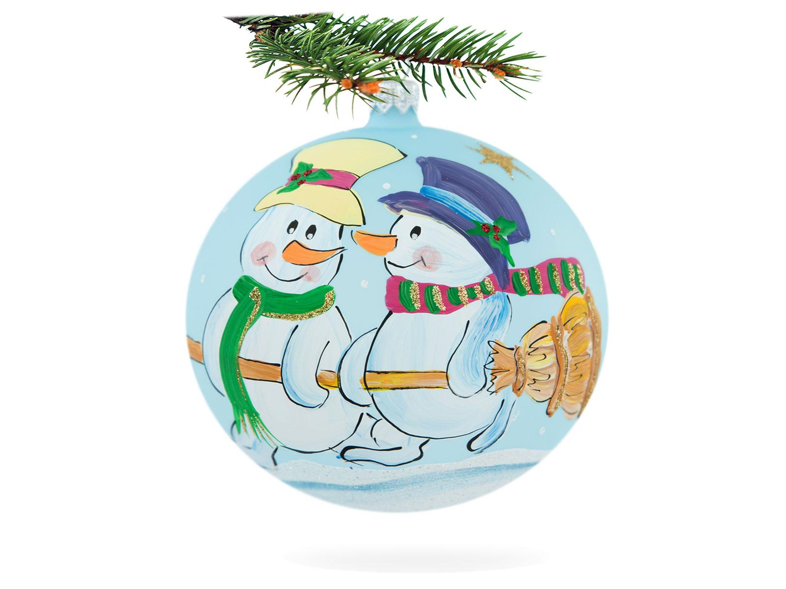 Snowmen with broom on blue -  100 mm 1 pc glass christmas ball