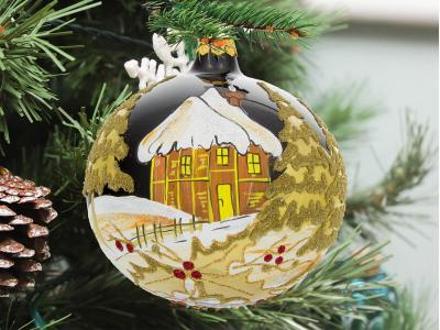 A golden house on black porcelain -  120 mm 1 pc glass christmas ball