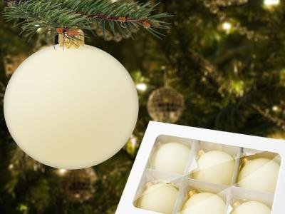 Set of beige mat -  80 mm 6 pcs glass christmas balls