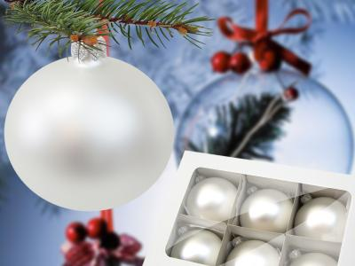 Set of white pearl (Mat) -  80 mm 6 pcs glass christmas balls