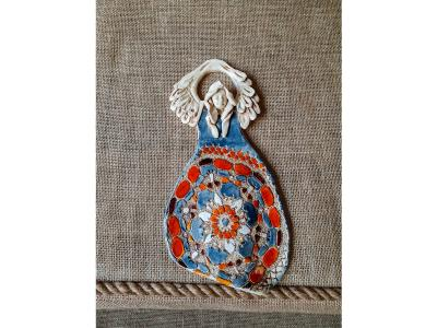 Angel of Abundance - blue orange -  31 x 16 cm decorative figurine