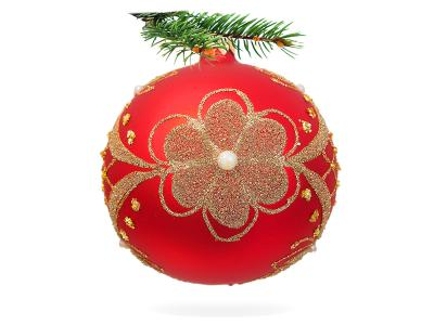 Golden flower on red -  100 mm 1 pc glass christmas ball