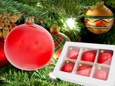 Set of red opal gloss -  100 mm 6 pcs glass christmas balls