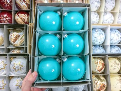 Set of turquoise gloss -  100 mm 6 pcs glass christmas balls