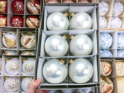 Set of golden white perl -  100 mm 6 pcs glass christmas balls