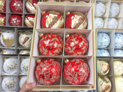 Set of red opal (golden leaves with a pearl, huts, frozen leaves) -  100 mm 6 pcs glass christmas balls