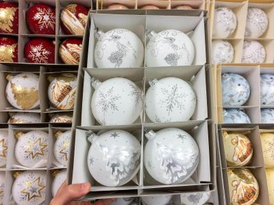 Set of silver fawn snow on white -  100 mm 6 pcs glass christmas balls