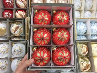 Set of golden flower on red -  80 mm 6 pcs glass christmas balls