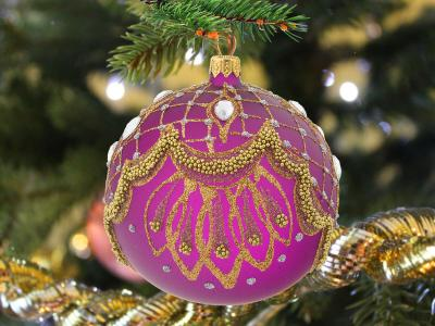 Gold lace on violet -  120 mm 1 pc glass christmas ball