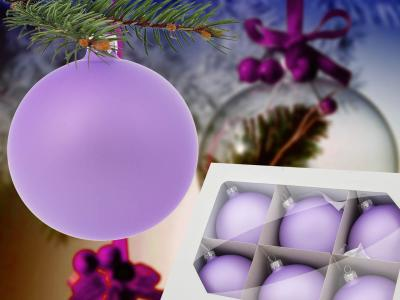 Set of lanvender -  80 mm 6 pcs glass christmas balls