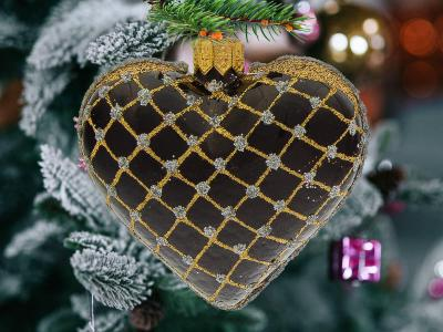 Set of hearts golden black -  8 x 7 cm 6 pcs glass christmas balls