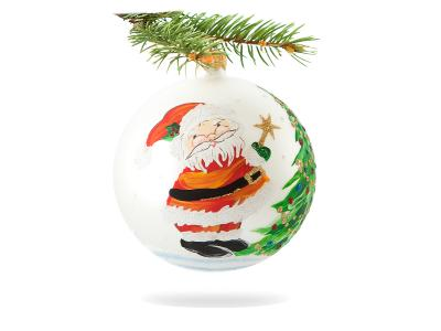 Santaclaus with star on white -  100 mm 1 pc glass christmas ball