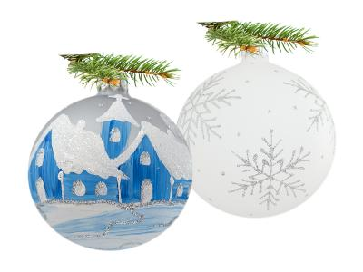 Set of huts snowflakes on white -  100 mm 6 pcs glass christmas balls