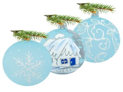 Set of silver huts leafs blue mix -  80 mm 6 pcs glass christmas balls
