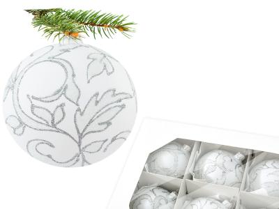 Set of silver leafs of white -  80 mm 6 pcs glass christmas balls