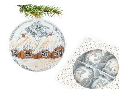 Set of brown huts on white -  100 mm 4 pcs glass christmas balls