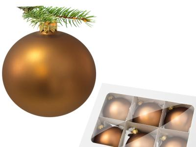 Set of golden mat -  80 mm 6 pcs glass christmas balls