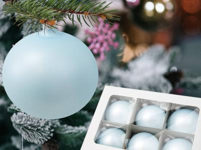 Set of blue pearl -  100 mm 6 pcs glass christmas balls