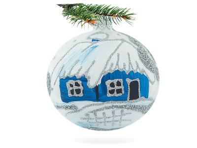 Set of blue huts on white -  80 mm 6 pcs glass christmas ball
