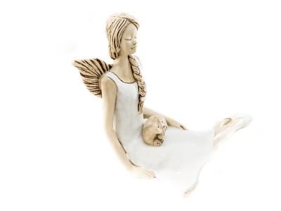 Angel Matilda with cat (White) -  15 cm decorative figurine
