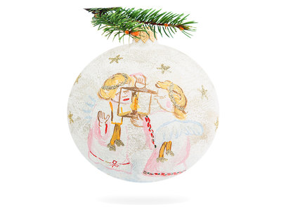 Angels with lantern on creamy -  100 mm 1 pc glass christmas ball