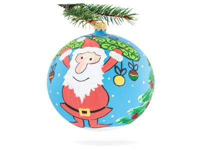 Santaclaus on blue -  120 mm 1 pc glass christmas ball