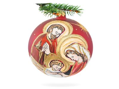 Holy Family on red -  120 mm 1 pc glass christmas ball