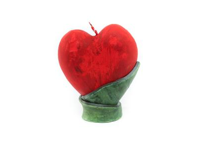 Red heart -  11 x 13 cm decorative candle