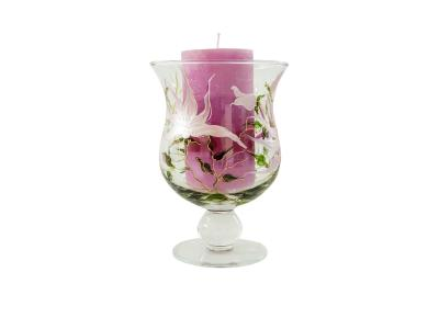 Candle Holder Lilies XL + Candle -  19 x 14 cm